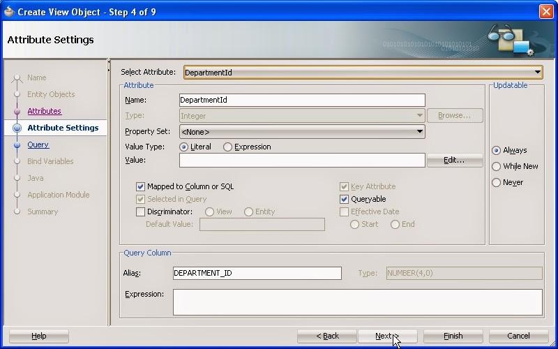 configuracion de atributos de viewobject