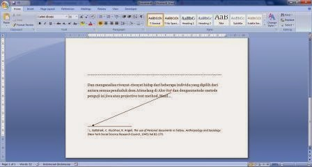 Catatan kaki di MS Word