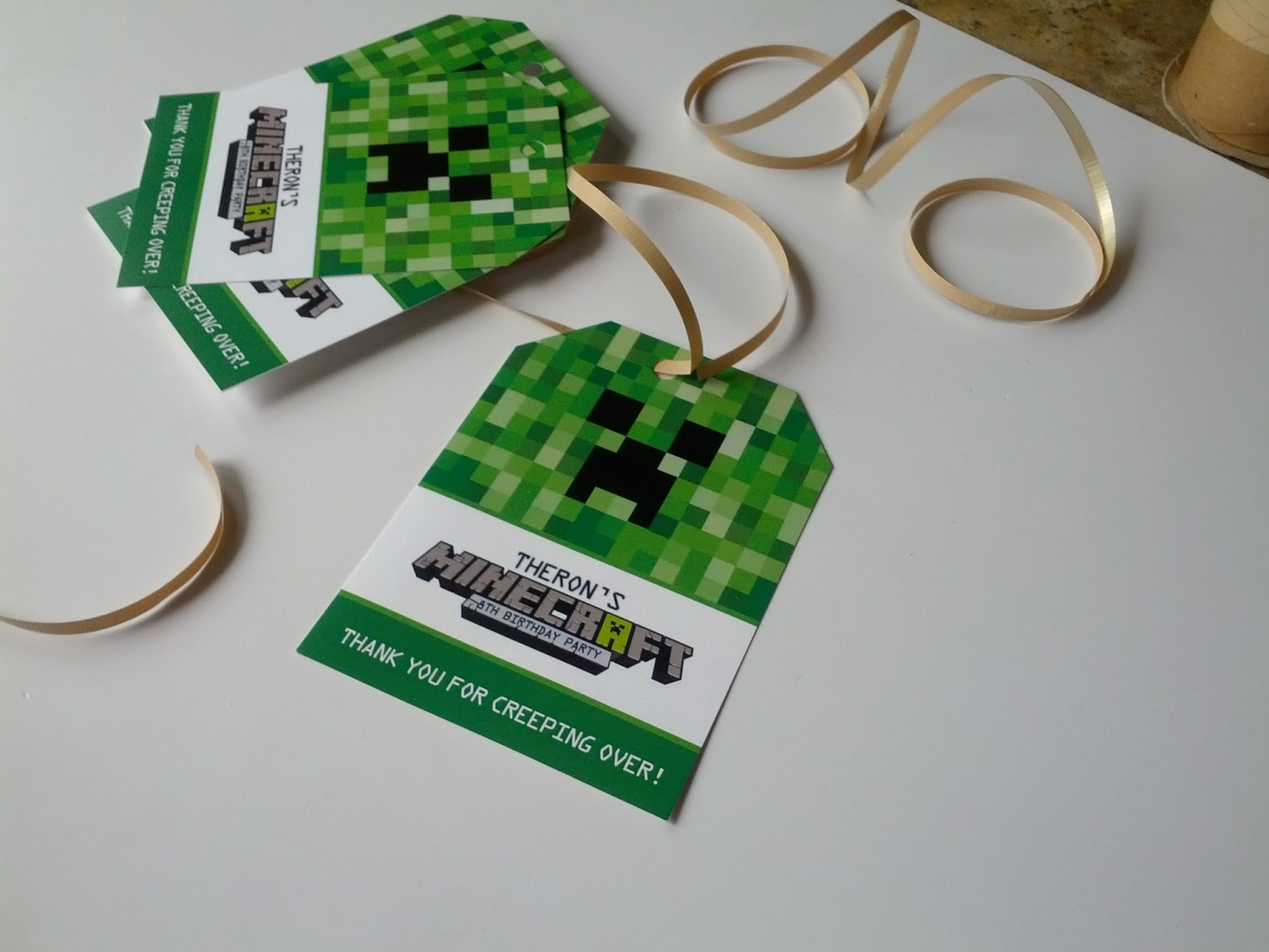 Minecraft birthday party ideas and invitations i took green cupcakes designed cupcake wrappers and cupcake toppers green bags with custom designed tags custom notepads green pencils with happy 8th solutioingenieria