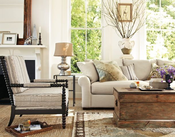 Rustic at pottery barn - Cool pottery barn living room designs ...