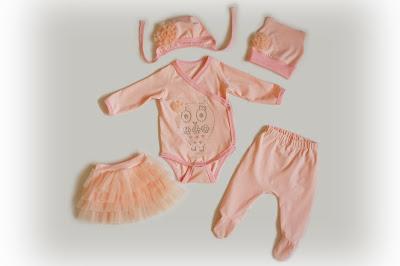 Комплект для девочки, 56 размер, боди, штанишки, юбочка, чепчик, шапочка
