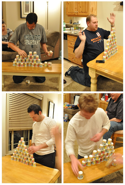 Minute to Win it 30th Birthday Party, stack attack