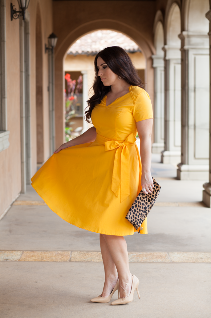 yellow eshakti dress, clare vivier leopard clutch, nude charles david pumps