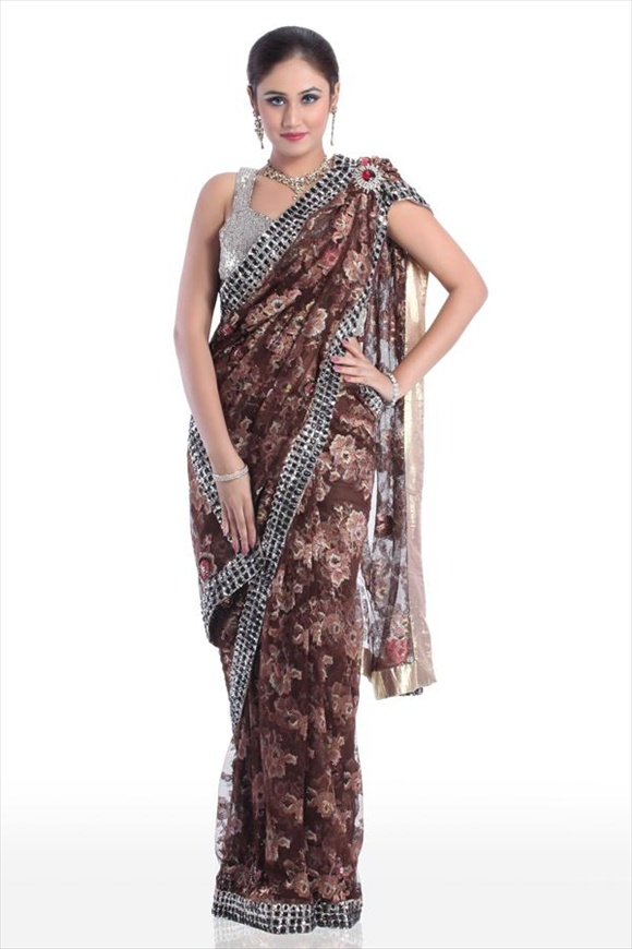 Red Mahogany Net Saree