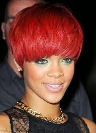Rihanna African American Fire-Engine Red Hairstyle With Picture
