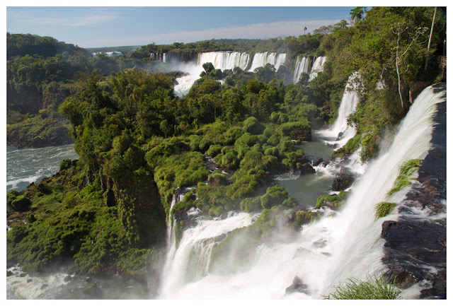 A photograph of Iguazu Falls taken in Puerto Iguazu in Argentina.