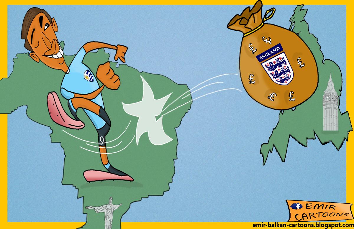 Luis Suarez , Engleska Urugvaj,Urugvaj Luis Suarez,Luis Suarez kariakkture, fudbal karikature, karikatura dana, omar momani, emir cartoons,