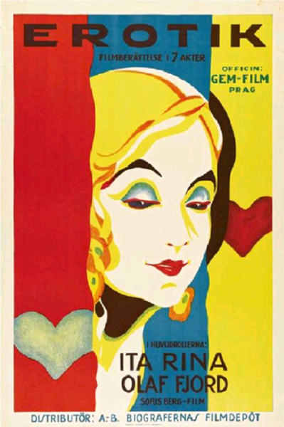Cartel de la película de 1929 : Erotikon (Seduction) de Gustav Machatý