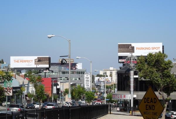 JCPenney split sofa billboards Sunset Strip