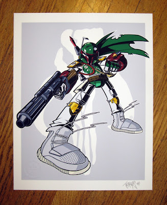 "Star Wars ""Boba 750 Boost"" Boba Fett Print by Tracy Tubera"