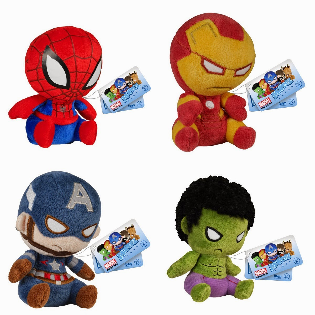 Marvel Mopeez Plush Figures by Funko - Spider-Man, Iron Man, Captain America & Hulk