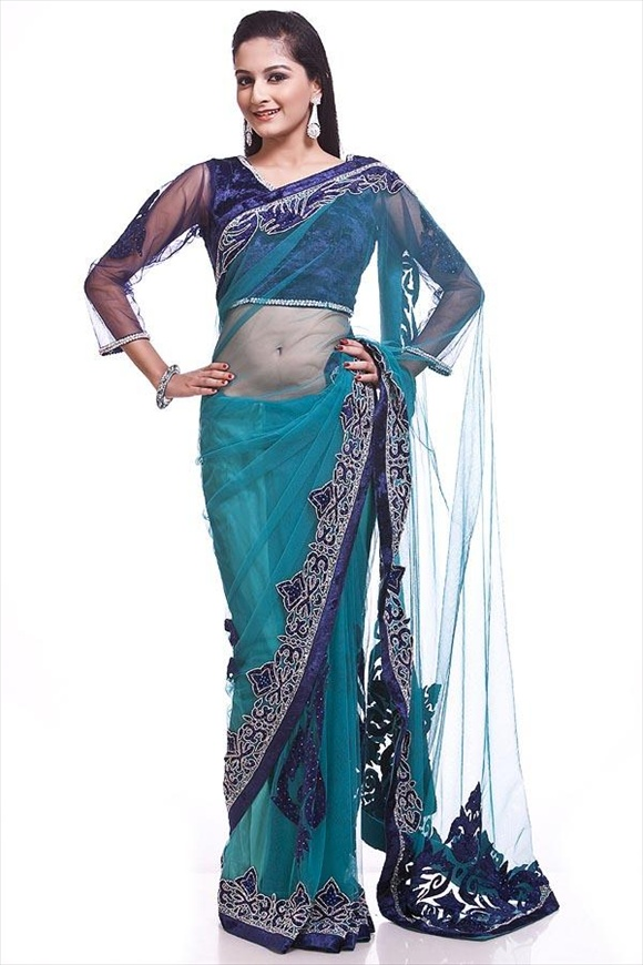 Turquoise Blue Net Saree indian