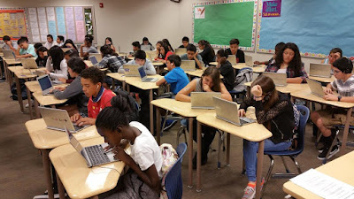 Class full of students coding