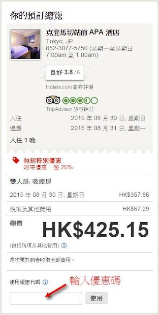 Hotels.com 付款前輸入92折優惠碼【EMLESS8】