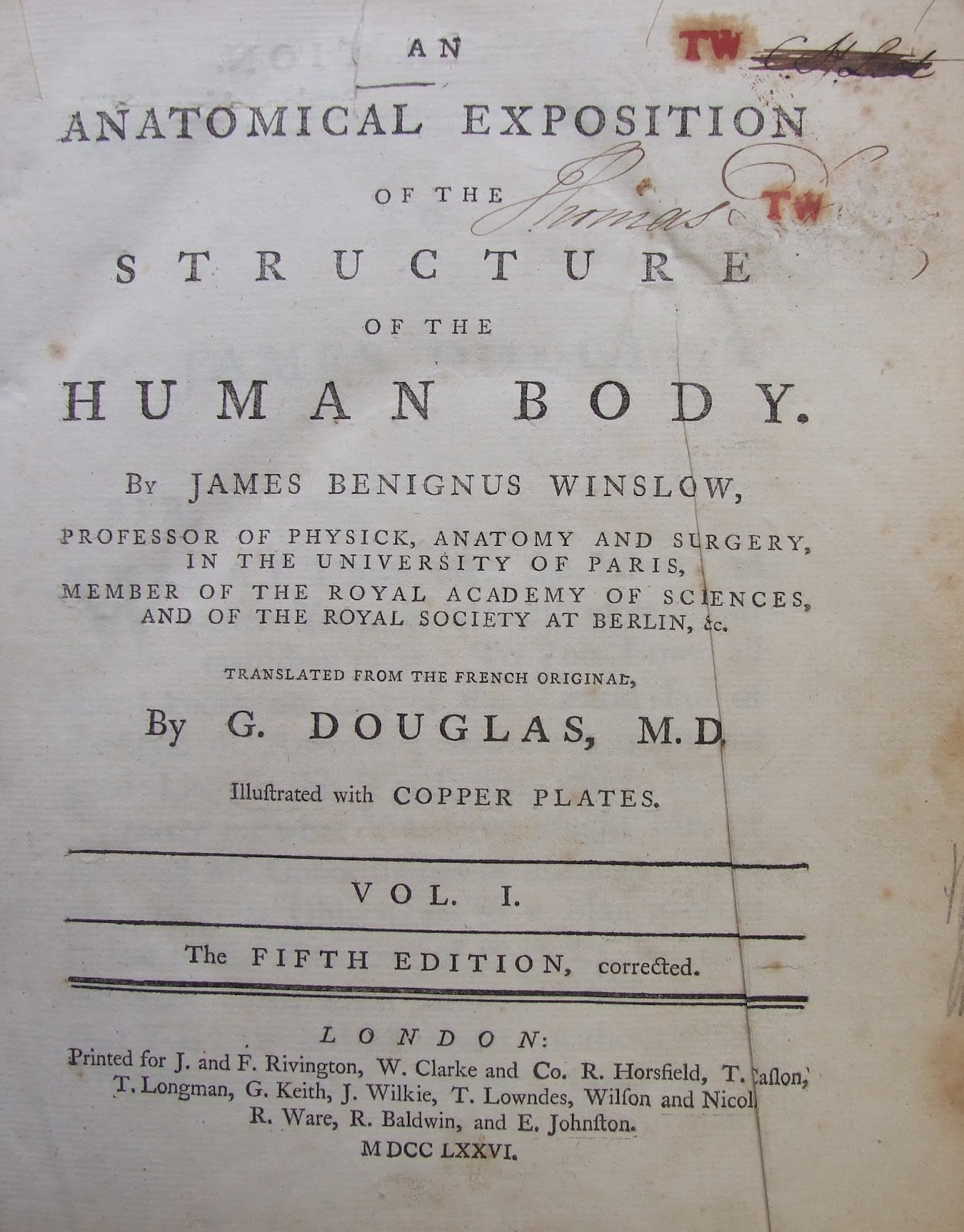 Book of the Month: Winslow\'s Anatomy (1776) | RCPI Heritage Centre Blog