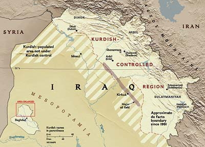 the kirkuk field stretches from the disputed territories into the kurdistan region