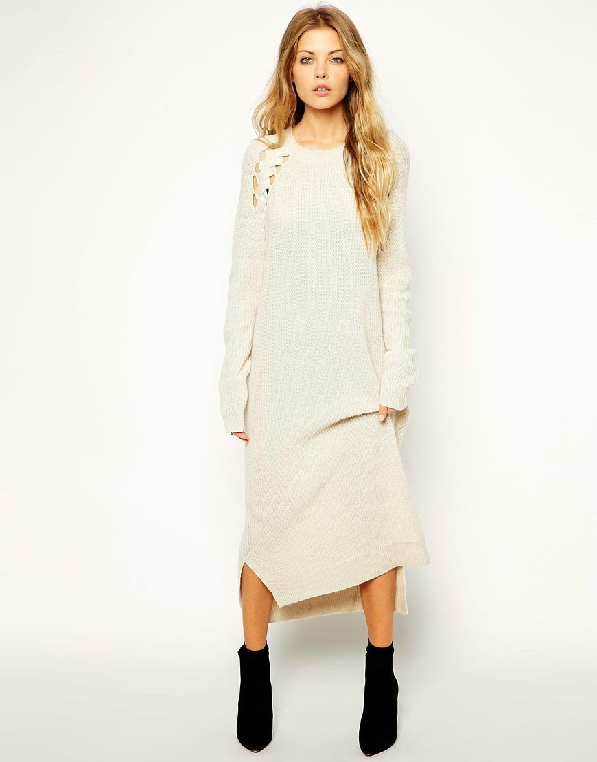 cream long knitted dress, cream cable knit dress,
