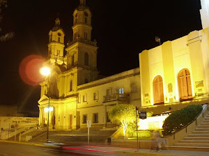 Vista Nocturna de la Municipalidad y Catedral de Patagones