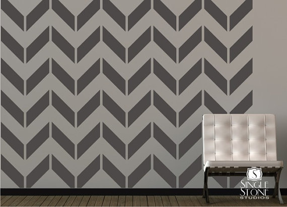 Paint a trendy chevron patterned wall picfish for Chevron template for walls