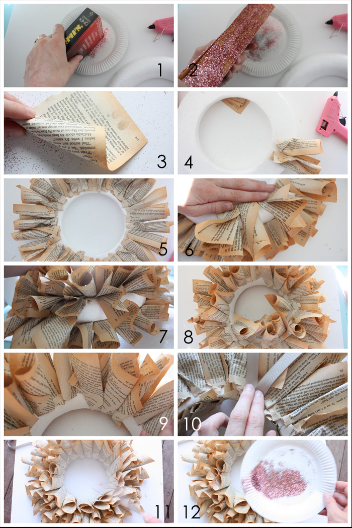 The happy home how to make a book page wreath - Tipos de papel manualidades ...