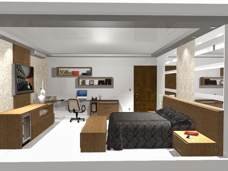 Home Office no Quarto de Casal Cantinho Organizado ~ Quarto Casal Pequeno Com Home Office