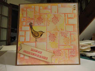 Autumnal anniversary card with bird and leaves