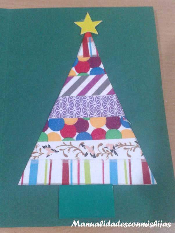 Manualidades con mis hijas tarjetas de navidad con whasi tape - Tarjeta de navidad manualidades ...