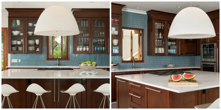 Coastal modern kitchen with dark wood cabinets and aqua tile back splash