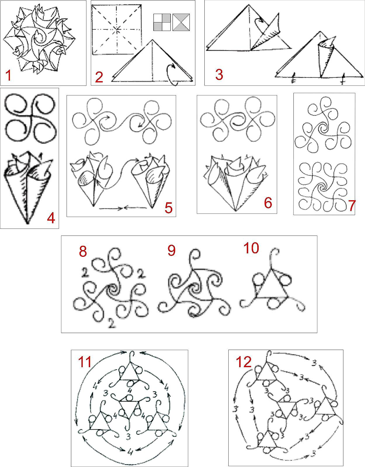 1001 arts  origami kusudama encaracolado