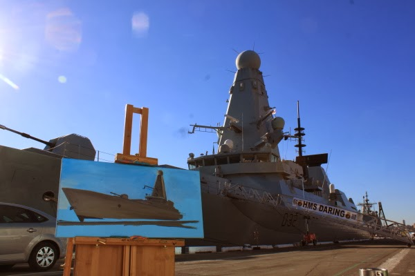 plein air oil painting of HMS Daring at Barangaroo wharf during International Fleet Review by artist Jane Bennett