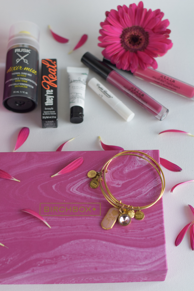 A Day In The Lalz; Beauty; October 2015 Birchbox; Positive Force; Benefit Cosmetics; Caudalie; English Laundry Parfum; RUSK Mist; too cool for school highlighter; Stila All Day Liquid Lipstick; Alex & Ani Road to Romance Rose Charm Bangle; RumbaTime Women's Union Gem; Bauble Bar Bracelet