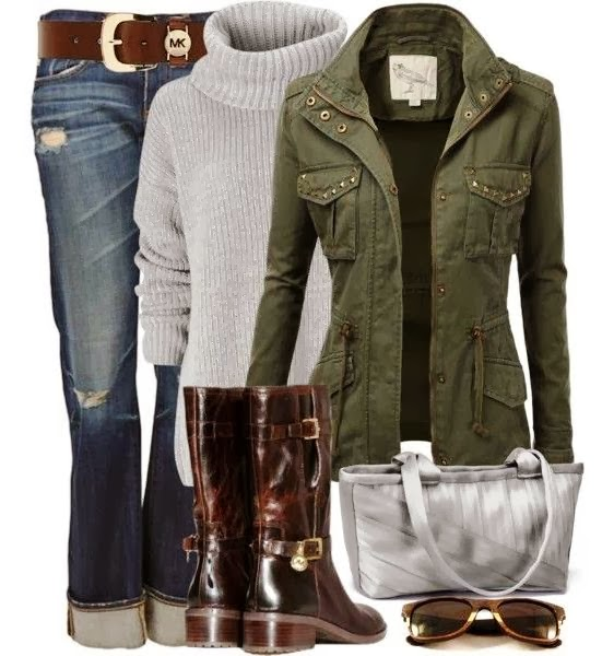 High neck grey sweater, jeans, army jacket and long neck shoes combination for fall