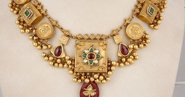 Elegant Gold Temple Short Haram Latest Jewellery Designs