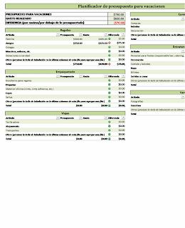 Planificador de presupuestos para vacaciones, Excel, Negocios, economía, finanzas