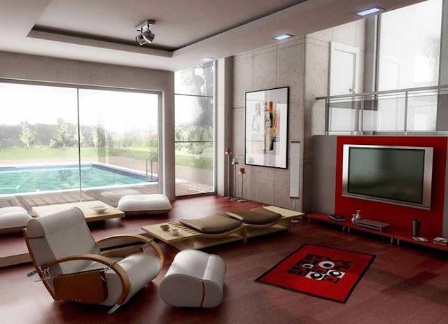 Interior modern design for living room beside the pool for Best interior design for living room