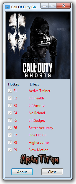 Call Of Duty Ghosts Trainer +8 For game update #1 MrAntiFun