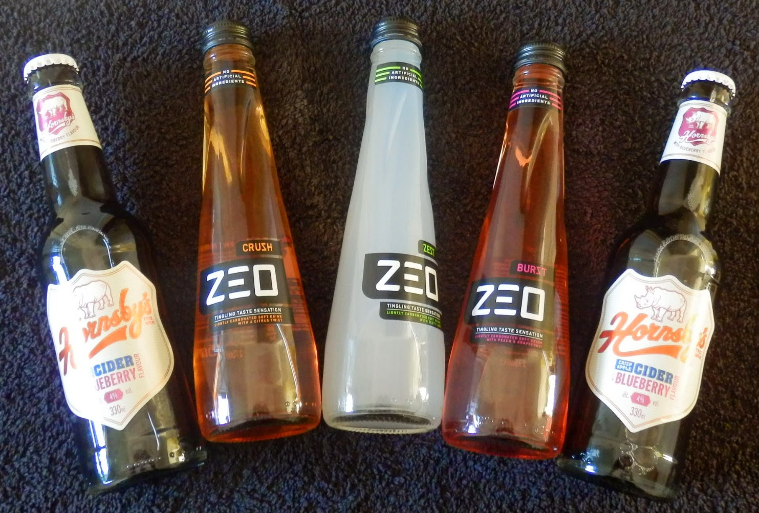 3 Zeo Drinks - Zest Lime, Peach & Grapefruit Burst and  Citrus Crush & Hornsby's Blueberry Cider