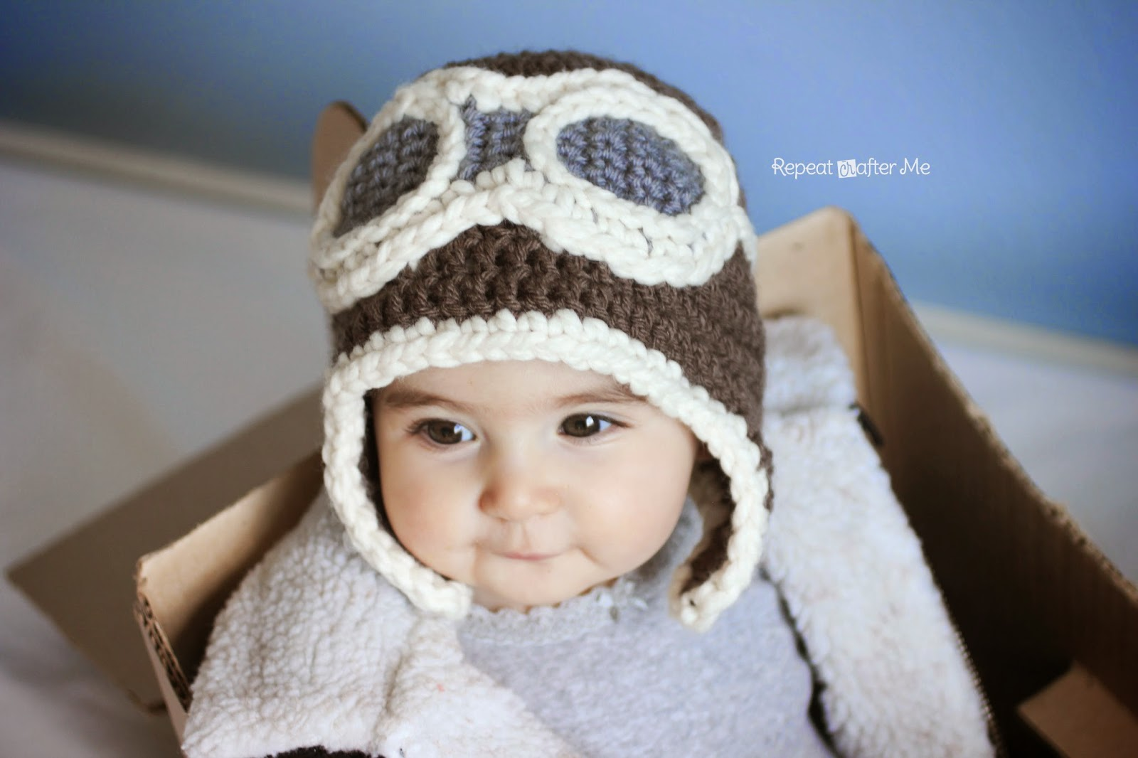 Crochet Newborn Aviator Hat Pattern : Repeat Crafter Me: Crochet Aviator Hat Pattern