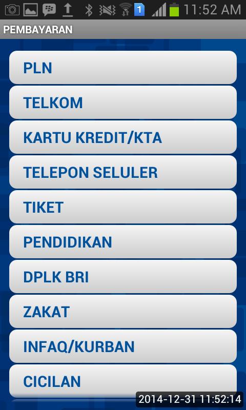 Menu-menu Pembayaran pada Mobile BRI