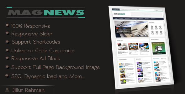 Free Download MagNews - Responsive Blogger Template