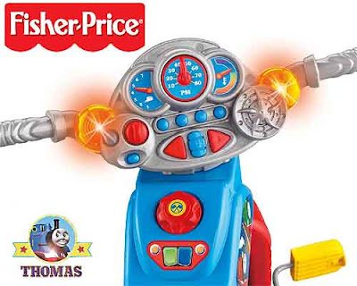 Preschooler and toddler friendly boys toy trike bike with yellow indicator flashing Thomas lights