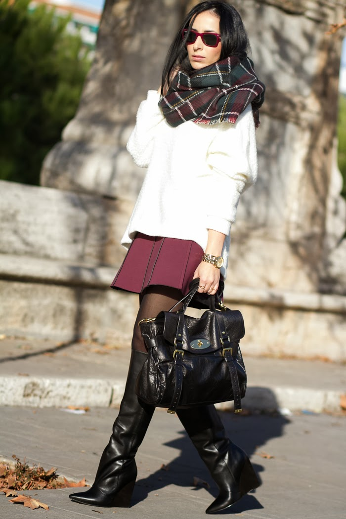 Fashion Style Blogger withorwithoutshoes with burgundy and white color
