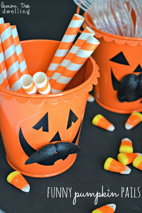 Funny Pumpkin Pails - the perfect decorations for your Halloween celebrations!