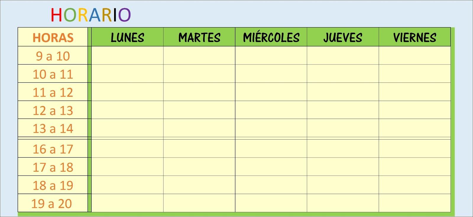 Plantilla Excel horario escolar o familiar | Hojas Excel fácil: