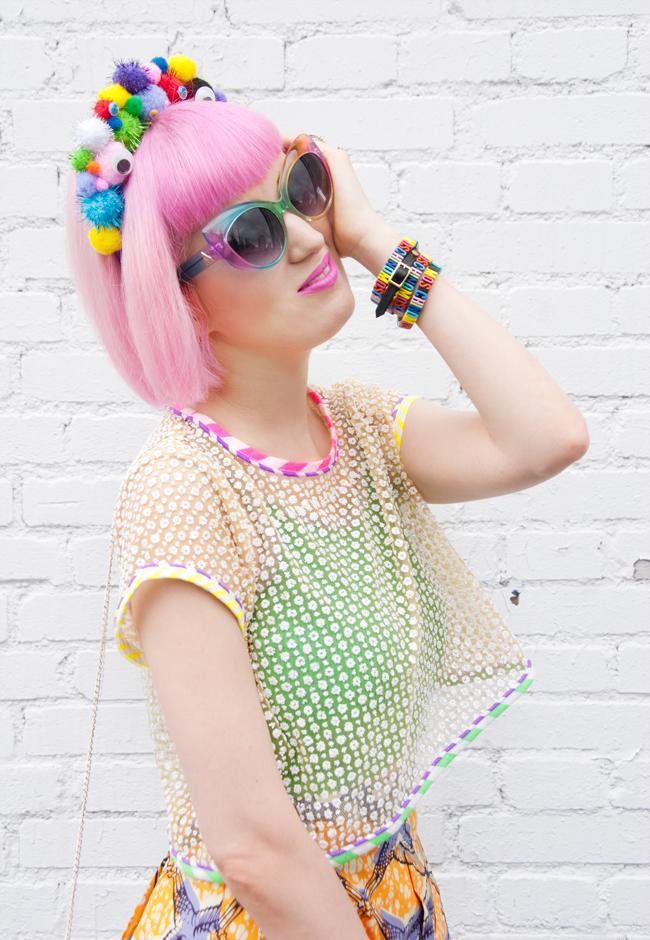 moschino bracelet, rainbow moschino, pompom headband