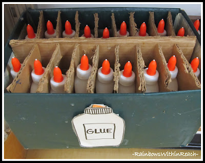 photo of: Glue Organization (Art Room RoundUP via RainbowsWithinReach)