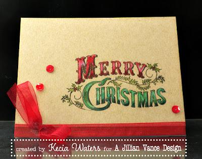 A Jillian Vance Design, Kecia Waters, Prismacolor pencils, Merry Christmas, kraft