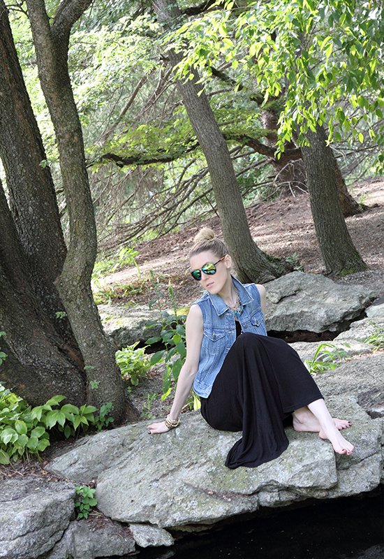 """Lost In The Woods"" Outfit Post on ""The Wind of Inspiration"" Blog #outfit #look #style #fashion #personalstyle #fashionblog #fashionblogger (Warehouse maxi dress, Levi's denim trucker Vest, Olive & Winnie Necklace, Forever 21 rosary necklace, Oxen Revolution mirrored aviators, Kenneth Cole New York watch, Asos bracelets, Sinful Colors Professional 975 Coffee)"