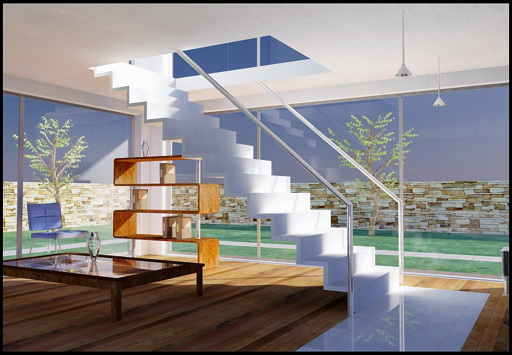 Infoarquitectura render 3d interiores for Escaleras 3d max