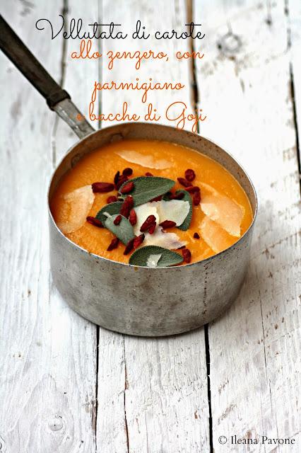 vellutata di carote allo zenzero, con parmigiano e bacche di goji